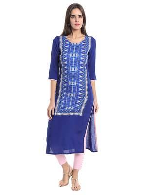 Blue Viscose Rayon Three Quarter Sleeves Round Neck stitched kurtas and kurtis