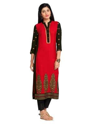Red Viscose Rayon Three Quarter Sleeves V Neck stitched kurtas and kurtis