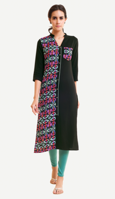 Black Viscose Rayon Three Quarter Sleeves V Neck stitched kurtas and kurtis