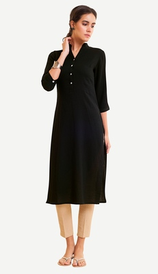 Black Viscose Rayon Three Quarter Sleeves V Neck stitched kurtas and kurtis