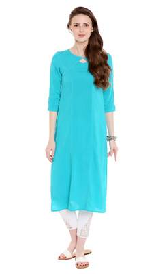 Blue Viscose Rayon Three Quarter Sleeves Round Neck stitched kurtas and kurtis
