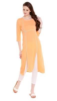 Orange Viscose Rayon Three Quarter Sleeves Round Neck stitched kurtas and kurtis