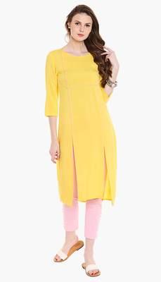 Yellow Viscose Rayon embroidery Three Quarter Sleeves Round Neck stitched kurtas and kurtis