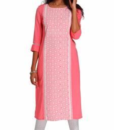 Pink Viscose Rayon Three Quarter Sleeves Round Neck stitched kurtas and kurtis