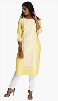 Yellow Viscose Rayon embroidery Three Quarter Sleeves Round Neck stitched kurtas and kurtis