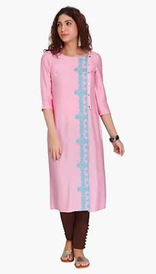 Pink Viscose Rayon embroidery Three Quarter Sleeves Round Neck stitched kurtas and kurtis