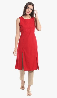 Red Viscose Rayon Sleeveless Round Neck stitched kurtas and kurtis