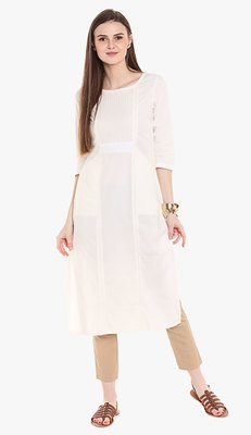 White Viscose Rayon embroidery Sleeveless Round Neck stitched kurtas and kurtis