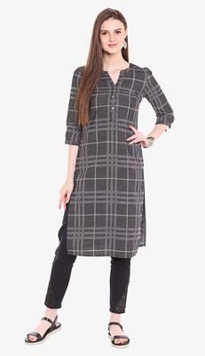 Black Viscose Rayon Short Sleeves V Neck stitched kurtas and kurtis