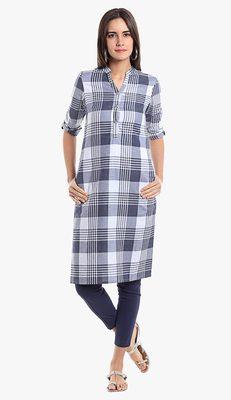 Blue Viscose Rayon Three Quarter Sleeves V Neck stitched kurtas and kurtis