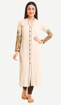 White Viscose Rayon Three Quarter Sleeves V Neck stitched kurtas and kurtis