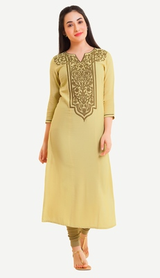 Yellow Viscose Rayon embroidery Three Quarter Sleeves V Neck stitched kurtas and kurtis