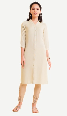 White Viscose Rayon Three Quarter Sleeves V Neck stitched kurtas and kurtis