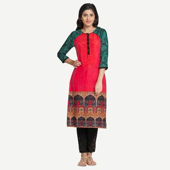 Red Viscose Rayon Three Quarter Sleeves Round Neck stitched kurtas and kurtis