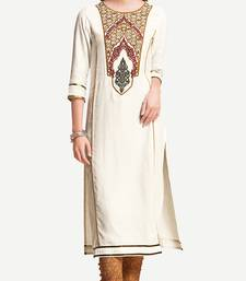 Buy White Viscose Rayon embroidery Three Quarter Sleeves Round Neck stitched kurtas and kurtis kurtas-and-kurtis online