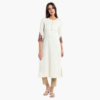 Cream Viscose Rayon embroidery Three Quarter Sleeves Round Neck stitched kurtas and kurtis