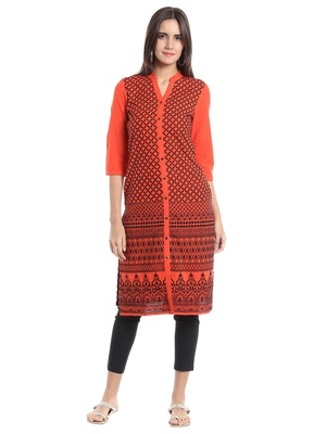 Orange Viscose Rayon embroidery Three Quarter Sleeves V Neck stitched kurtas and kurtis