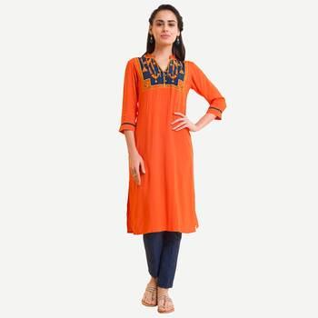 Orange Viscose Rayon embroidery Three Quarter Sleeves V Neck stitched kurtas and kurtis