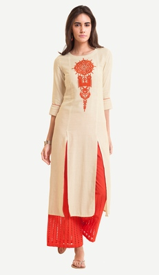 White Viscose Rayon embroidery Three Quarter Sleeves Round Neck stitched kurtas and kurtis