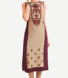 Maroon Viscose Rayon Sleeveless Round Neck stitched kurtas and kurtis