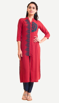 Red Viscose Rayon embroidery Three Quarter Sleeves Round Neck stitched kurtas and kurtis