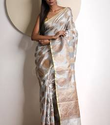 White hand woven tissue saree with blouse handloom-saree