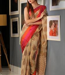 Buy Yellow hand woven banarasi cotton saree with blouse handloom-saree online