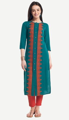 Teal Viscose Rayon embroidery Three Quarter Sleeves Round Neck stitched kurtas and kurtis