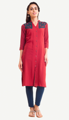 Red Viscose Rayon embroidery Three Quarter Sleeves V Neck stitched kurtas and kurtis