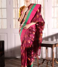 Buy Purple hand woven banarasi silk saree with blouse handloom-saree online
