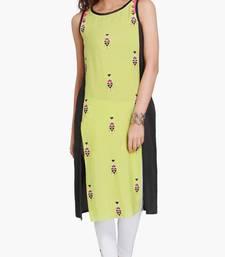Green Viscose Rayon embroidery Sleeveless Round Neck stitched kurtas and kurtis