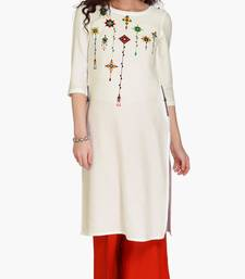 White Viscose Rayon embroidery Three Quarter Sleeves Round Neck stitched kurtas and kurtis