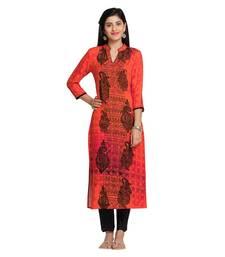 Orange Viscose Rayon Three Quarter Sleeves V Neck stitched kurtas and kurtis