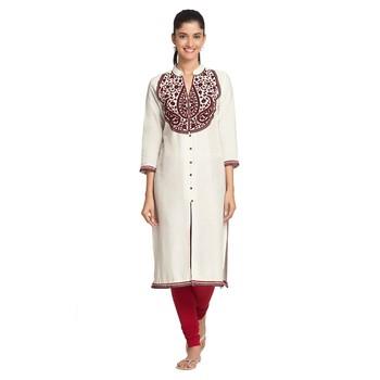 White Viscose Rayon embroidery Three Quarter Sleeves V Neck stitched kurtas and kurtis