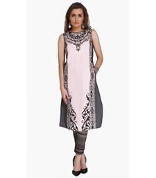 Pink Viscose Rayon embroidery Sleeveless Round Neck stitched kurtas and kurtis