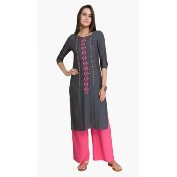 Grey Viscose Rayon embroidery Three Quarter Sleeves Round Neck stitched kurtas and kurtis