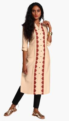 Beige Viscose Rayon embroidery Three Quarter Sleeves V Neck stitched kurtas and kurtis