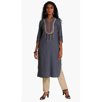 Grey Viscose Rayon embroidery Three Quarter Sleeves V Neck stitched kurtas and kurtis