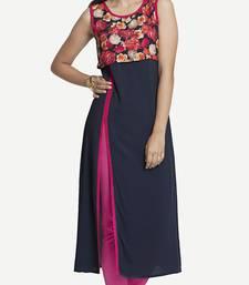 Blue Viscose Rayon Sleeveless V Neck stitched kurtas and kurtis
