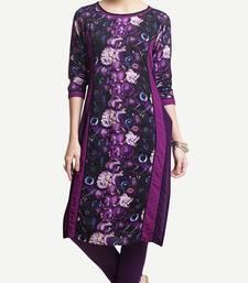 Purple Viscose Rayon Three Quarter Sleeves Round Neck stitched kurtas and kurtis