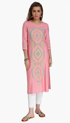 Pink Viscose Rayon embroidery Three Quarter Sleeves Round Neck stitched kurtas and kurtis