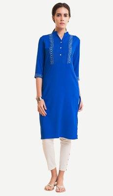Blue Viscose Rayon embroidery Three Quarter Sleeves V Neck stitched kurtas and kurtis