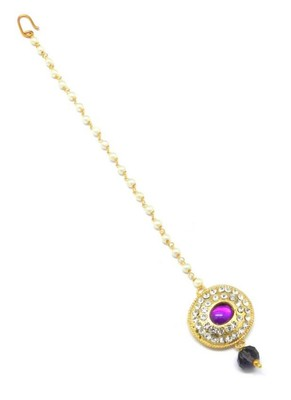 Jewellery Gold Plated Oval Shape Maang Tikka Decorated With Crystal & Pearl For Women/Girls