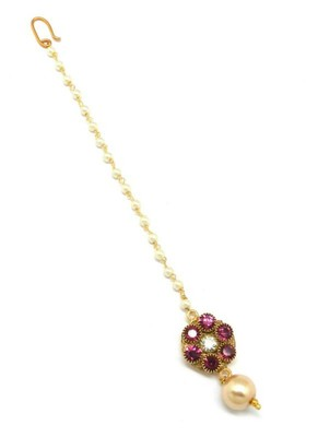 Jewellery Flower Style Maang Tikka Decorated With Crystal & Pearl For Women/Girls