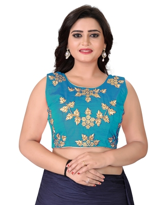 Turquoise Embriodered Silk Blouse