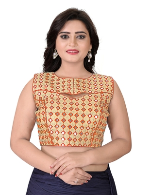 Orange Embriodered Bangalori Blouse