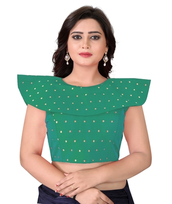 Turquoise Solid Malbari Blouse