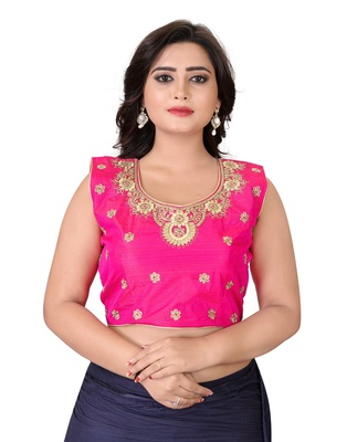 Pink Embriodered Silk Blouse
