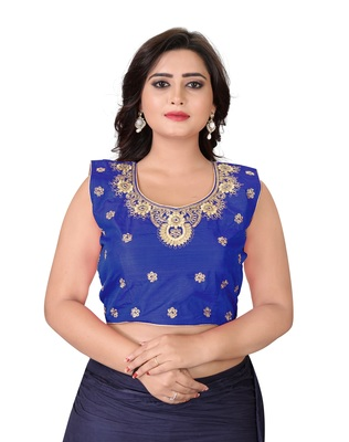 Blue Embriodered Silk Blouse