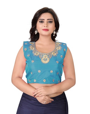 Sky Blue Embriodered Silk Blouse